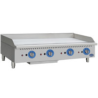 Globe GG48TG 48 inch Countertop Gas Griddle with Thermostatic Controls - 120,000 BTU