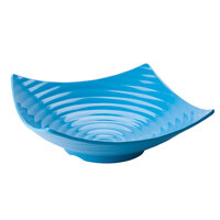 Tablecraft Frostone MB164BL 15 inch Square Ribbed 4 Qt. Blue Melamine Bowl
