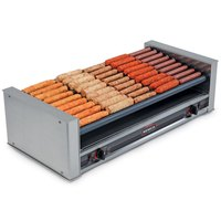 Nemco 8045SXW-SLT Wide Slanted Hot Dog Roller Grill with GripsIt Non-Stick Coating - 45 Hot Dog Capacity (120V)