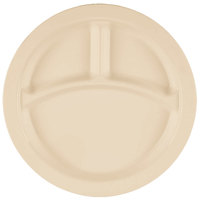 Cambro 93CW133 Camwear 3 Compartment 9 inch Beige Polycarbonate Narrow Rim Plate - 48/Case