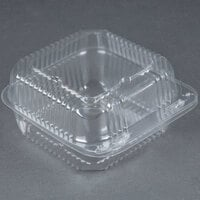 Durable Packaging PXT-600 Duralock 6 inch x 6 inch x 3 inch Clear Hinged Lid Plastic Container - 500 / Case