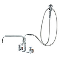 T&S B-0289 Wall Mounted Pre-Rinse Faucet with Adjustable 8 inch Centers, Angled Spray Valve, 4-Arm Handles, 104 inch Hose, 18 inch Add-On Faucet, 90 Degree Swivel Adapter, and Installation Kit