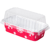 Durable Packaging 9401P 2 lb. Holiday Loaf Pan with Clear Dome Lid - 100/Case