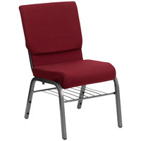 Flash Furniture XU-CH-60096-BY-SILV-BAS-GG Burgundy 18 1/2 inch Wide Church Chair with Book Rack - Silver Vein Frame