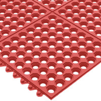 San Jamar KM1240B Red Light Duty Grease Proof Connect-A-Mat 3' x 3' - 1/2 inch Thick, Bagged