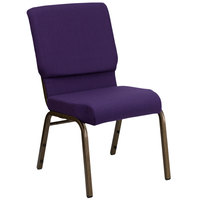 Flash Furniture FD-CH02185-GV-ROY-GG Royal Purple 18 1/2 inch Wide Church Chair with Gold Vein Frame
