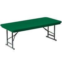 Correll R-Series RA3072S 30 inch x 72 inch Green Plastic Adjustable Height Folding Table - Short Legs
