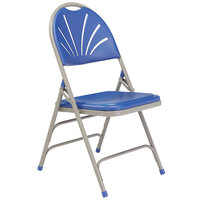 National Public Seating 1105 Gray Metal Folding Chair with Blue Plastic Seat