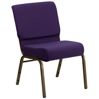 Flash Furniture FD-CH0221-4-GV-ROY-GG Royal Purple 21 inch Extra Wide Church Chair with Gold Vein Frame