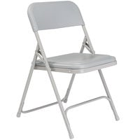 National Public Seating 802 Gray Metal Folding Chair with Gray Plastic Seat
