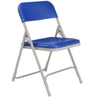 National Public Seating 805 Gray Metal Folding Chair with Blue Plastic Seat