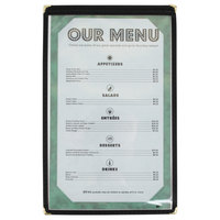 8 1/2 inch x 14 inch Black Single Pocket Menu Cover