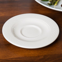 Homer Laughlin 8846900 Kensington Ameriwhite 5 5/8 inch Bright White China Saucer - 36/Case