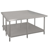 Advance Tabco VLG-488 48 inch x 96 inch 14 Gauge Stainless Steel Work Table with Galvanized Undershelf