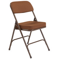 National Public Seating 3219 Brown Metal Folding Chair with 2 inch Antique Gold Fabric Padded Seat