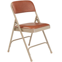 National Public Seating 1203 Beige Metal Folding Chair with 1 1/4 inch Honey Brown Vinyl Padded Seat