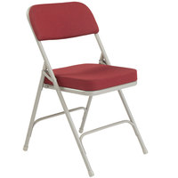 National Public Seating 3218 Gray Metal Folding Chair with 2 inch New Burgundy Fabric Padded Seat