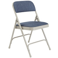 National Public Seating 2205 Gray Metal Folding Chair with 1 1/4 inch Imperial Blue Fabric Padded Seat