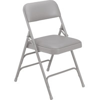 National Public Seating 1302 Gray Metal Folding Chair with 1 1/4 inch Warm Gray Vinyl Padded Seat