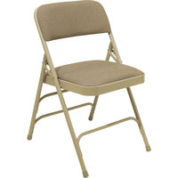 National Public Seating 2301 Beige Metal Folding Chair with 1 1/4 inch Cafe Beige Fabric Padded Seat