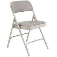 National Public Seating 2202 Gray Metal Folding Chair with 1 1/4 inch Graystone Fabric Padded Seat