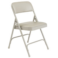National Public Seating 1202 Gray Metal Folding Chair with 1 1/4 inch Warm Gray Vinyl Padded Seat