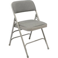 National Public Seating 2302 Gray Metal Folding Chair with 1 1/4 inch Graystone Fabric Padded Seat