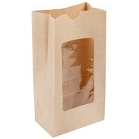 4 lb. Brown Kraft Paper Cookie / Coffee / Donut Bag with Polyethylene Window - 1000/Case