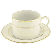 10 Strawberry Street CGLD0009 6 oz. Cream Double Gold Line Can Cup with Saucer - 24/Case