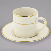 10 Strawberry Street CGLD0428 3 oz. Cream Double Gold Line Demi Can Cup with Saucer - 24/Case