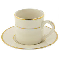 10 Strawberry Street CGLD0428 3 oz. Cream Double Gold Line Demi Can Cup with Saucer - 24 / Case