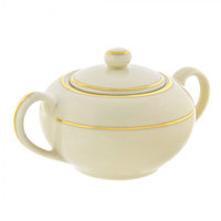10 Strawberry Street CGLD0018 8 oz. Cream Double Gold Line Covered Sugar Bowl - 6/Case