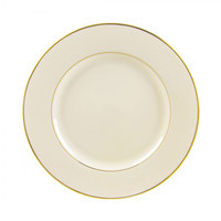 10 Strawberry Street CGLD0001 10 3/4 inch Cream Double Gold Line Porcelain Plate - 24/Case