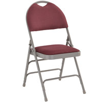 Flash Furniture HA-MC705AF-3-BY-GG Burgundy Metal Folding Chair with 1 inch Padded Fabric Seat - with Easy-Carry Handle