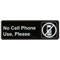 No Cell Phone Use, Please Sign - Black and White, 9 inch x 3 inch