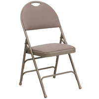 Beige Metal Folding Chair with 1 inch Padded Fabric Seat - with Easy-Carry Handle