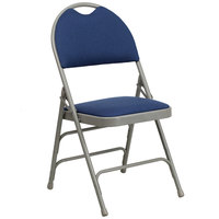 Navy Blue Metal Folding Chair with 1 inch Padded Fabric Seat - with Easy-Carry Handle