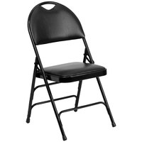 Flash Furniture HA-MC705AV-3-BK-GG Black Metal Folding Chair with 1 inch Padded Vinyl Seat - with Easy-Carry Handle