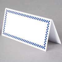 Rectangular Write On Deli Tent Sign with Blue Checkered Border - 25/Pack