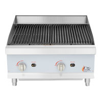 Cooking Performance Group CBL24 24 inch Gas Countertop Lava Rock Charbroiler - 80,000 BTU