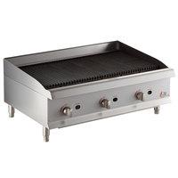 Cooking Performance Group CBL36 36 inch Gas Countertop Lava Briquette Charbroiler - 120,000 BTU