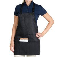 Chef Revival Black Poly-Cotton Customizable Bib Apron with 1 Pocket - 28 inchL x 25 inchW