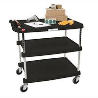 Metro myCart MY2030-34BU Black Utility Cart with Three Shelves and Chrome Posts – 24 inch x 34 inch