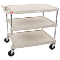 Metro myCart MY2636-35G Gray Utility Cart with Three Shelves and Chrome Posts - 28 inch x 40 inch