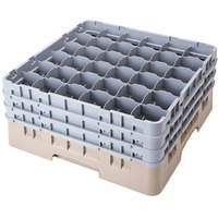 Cambro 36S900184 Beige Camrack Customizable 36 Compartment 9 3/8 inch Glass Rack