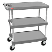 Metro myCart MY1627-34G Gray Utility Cart with Three Shelves and Chrome Posts - 18 inch x 32 inch