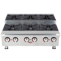 APW Wyott HHPS-636 Natural Gas Heavy Duty 6 Burner Step-Up Countertop 36 inch Range / Hot Plate - 180,000 BTU