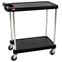 Metro myCart MY2030-24BL Black Utility Cart with Two Shelves and Chrome Posts - 24 inch x 34 inch