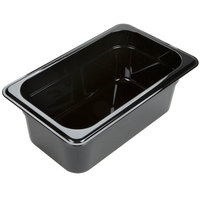 Carlisle 3088103 StorPlus 1/4 Size Black High Heat Plastic Food Pan - 4 inch Deep