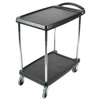 Metro myCart MY1627-24BL Black Utility Cart with Two Shelves and Chrome Posts - 18 inch x 32 inch